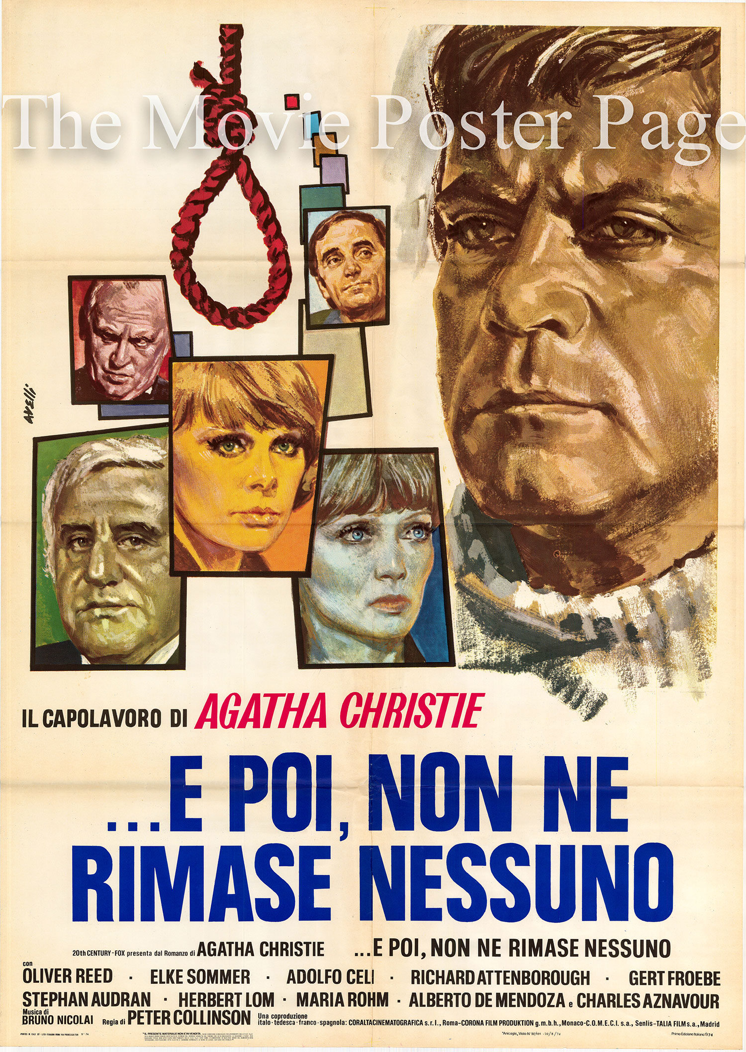 Pictured is an Italian two-sheet promotional poster for the 1974 Peter Collinson film And Then There were None starring Charles Aznavour as Michael Raven.