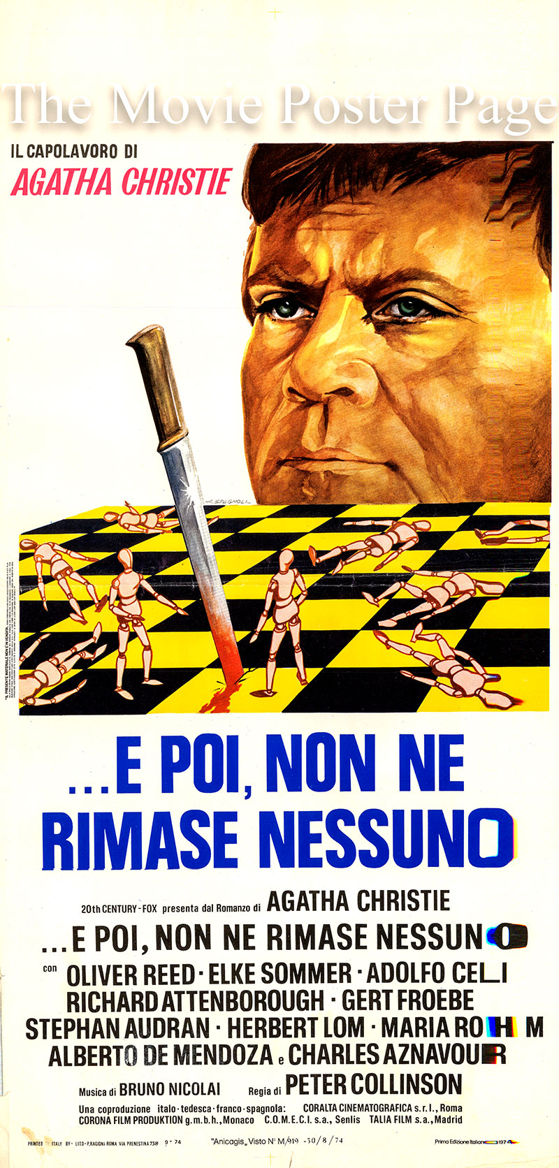 Pictured is an Italian locandina promotional poster for the 1974 Peter Collinson film And Then There Were None starring Oliver Reed as Hugh Lombard.