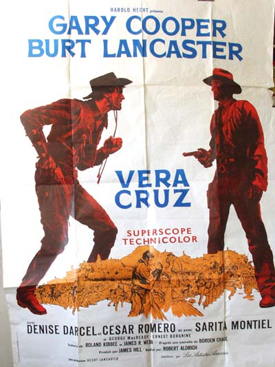 Pictured is a French promotional poster for the 1954 Robert Aldrich film Vera Cruz starring Gary Cooper and Burt Lancaster.