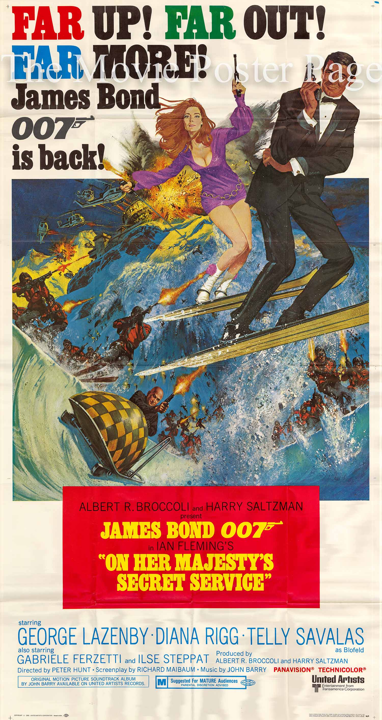 Pictured is a US three-sheet promotional poster for the 1969 Peter R. Hunt film On Her Majesty's Secret Service starring George Lazenby as James Bond.
