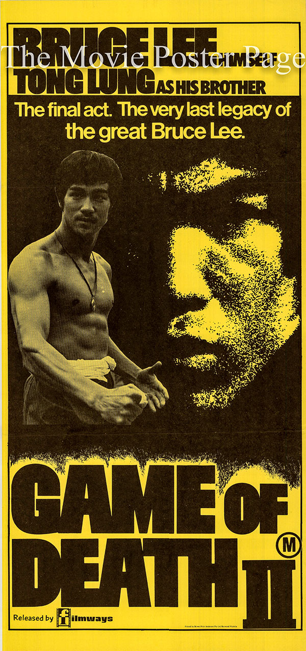 Pictured is an Australian daybill poster for the 1981 See-Yuen Ng film Game of Death II starring Bruce Lee.