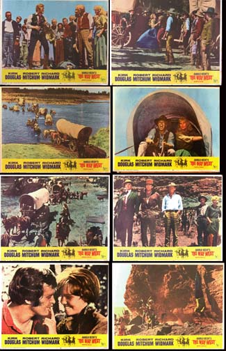 Pictured is a US lobby card set for the 1967 Andrew V. McLaglen film The Way West starring Kirk Douglas as Senator William J. Tadlock.