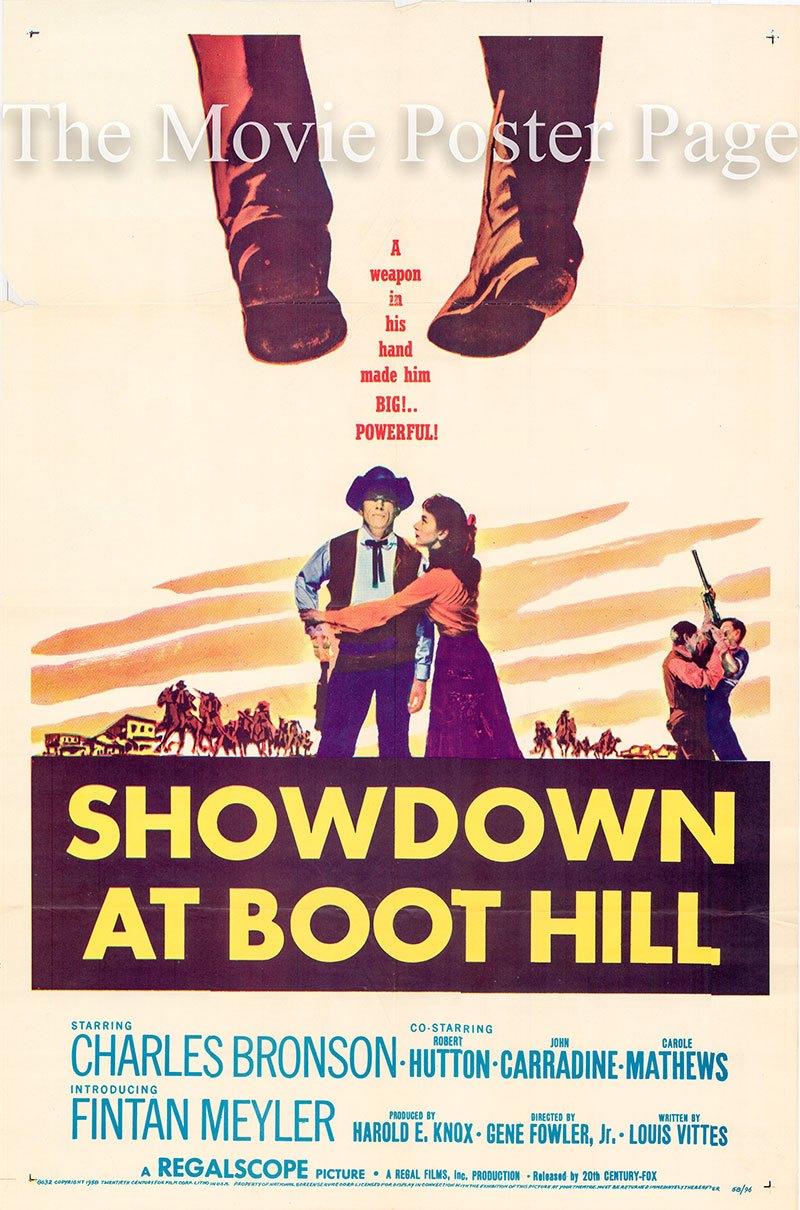 Pictured is a US one-sheet poster for the 1958 Gene Fowler Jr. film Showdown at Boot Hill starring Charles Bronson as Luke Welsh.