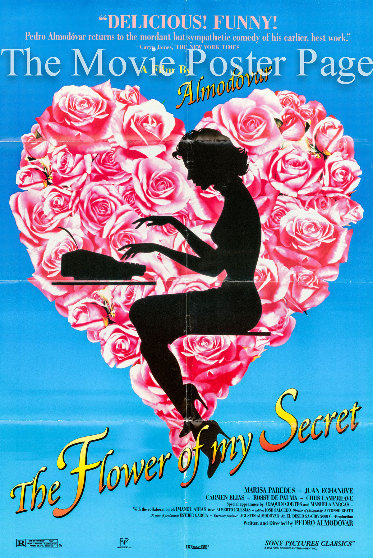 Pictured is a US one-sheet poster for the 1995 Pedro Almodovar film The Flower of My secret starring Marisa Paredes.