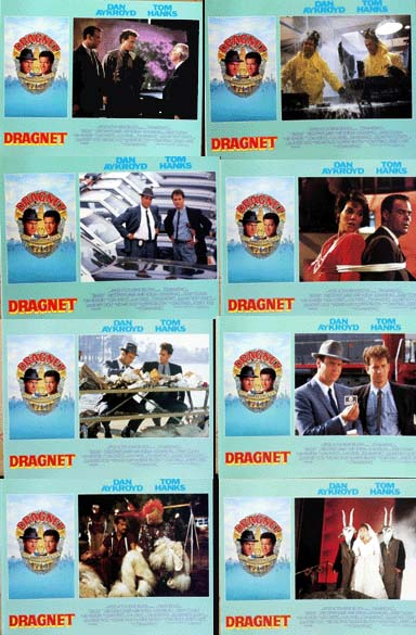 Pictured is a US lobby card set for the 1987 Tom Mankiewicz film Dragnet starring Dan Aykryod and Tom Hanks.
