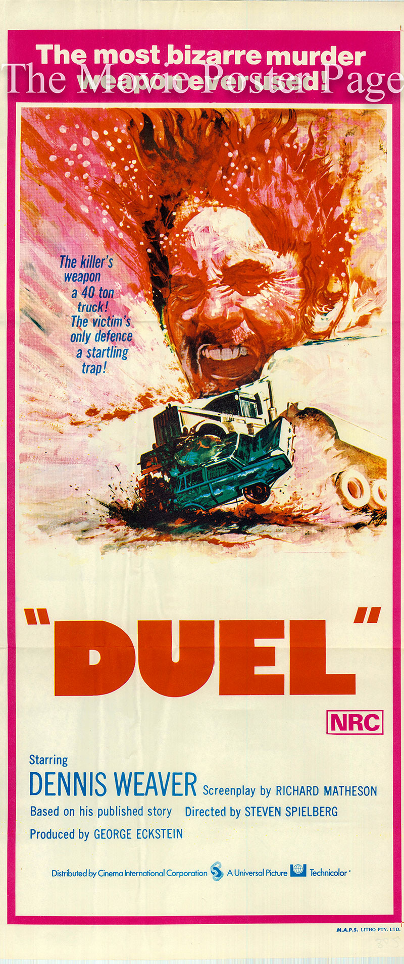 Pictured is an Australian daybill for the 1972 Steven Spielberg film Duel starring Dennis Weaver as David Mann.