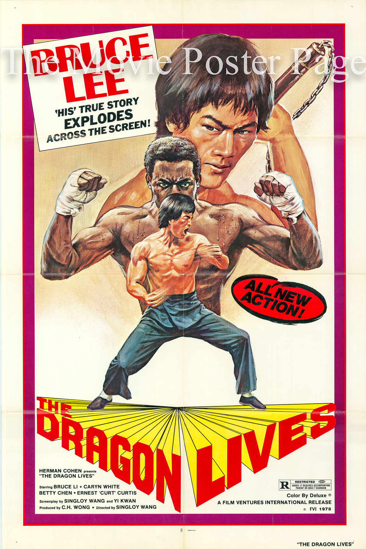 Pictured is a US one-sheet poster for the 1978 Singloy Wang film The Dragon Lives starring Bruce Li