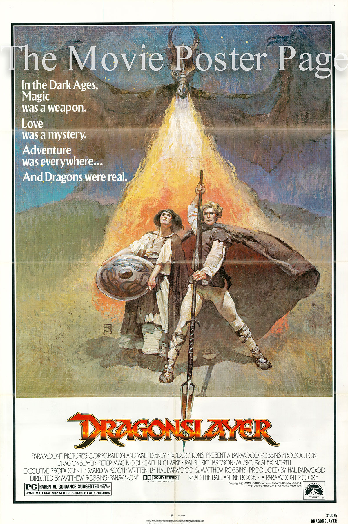 Pictured is a US one-sheet poster forthe 1981 Matthew Robins film Dragonslayer starring Peter MacNicol as Galen.