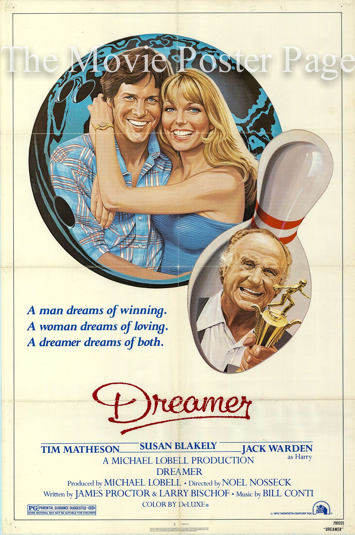 Pictured is a US one-sheet for the 1979 Noel Nosseck film Dreamer starring Tim Mattheson.