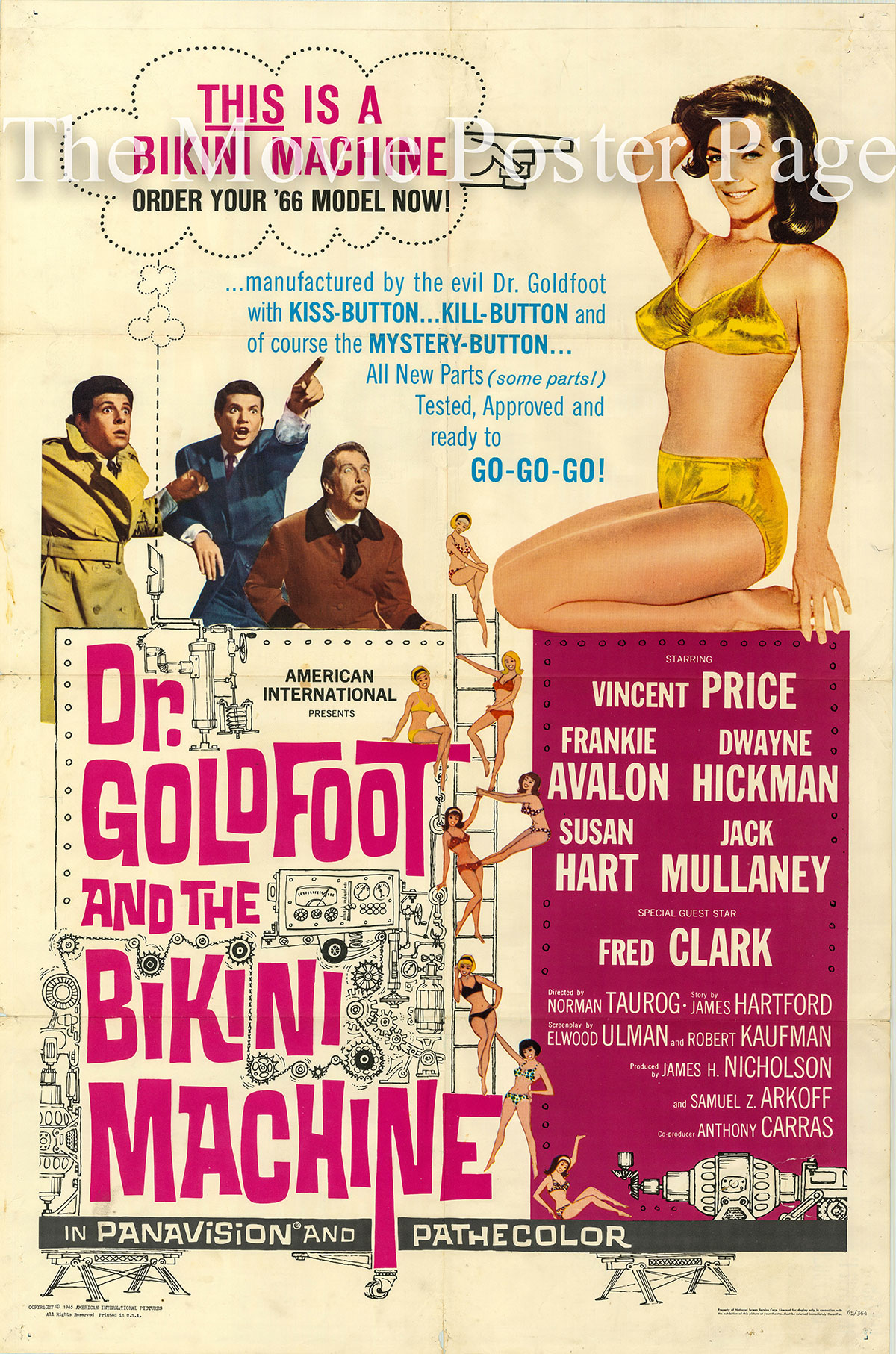 Pictured is a US one-sheet poster for the 1965 Norman Taurog film Dr. Goldfoot and the Bikini Machine starring Vincent Price as Dr. Goldfoot.