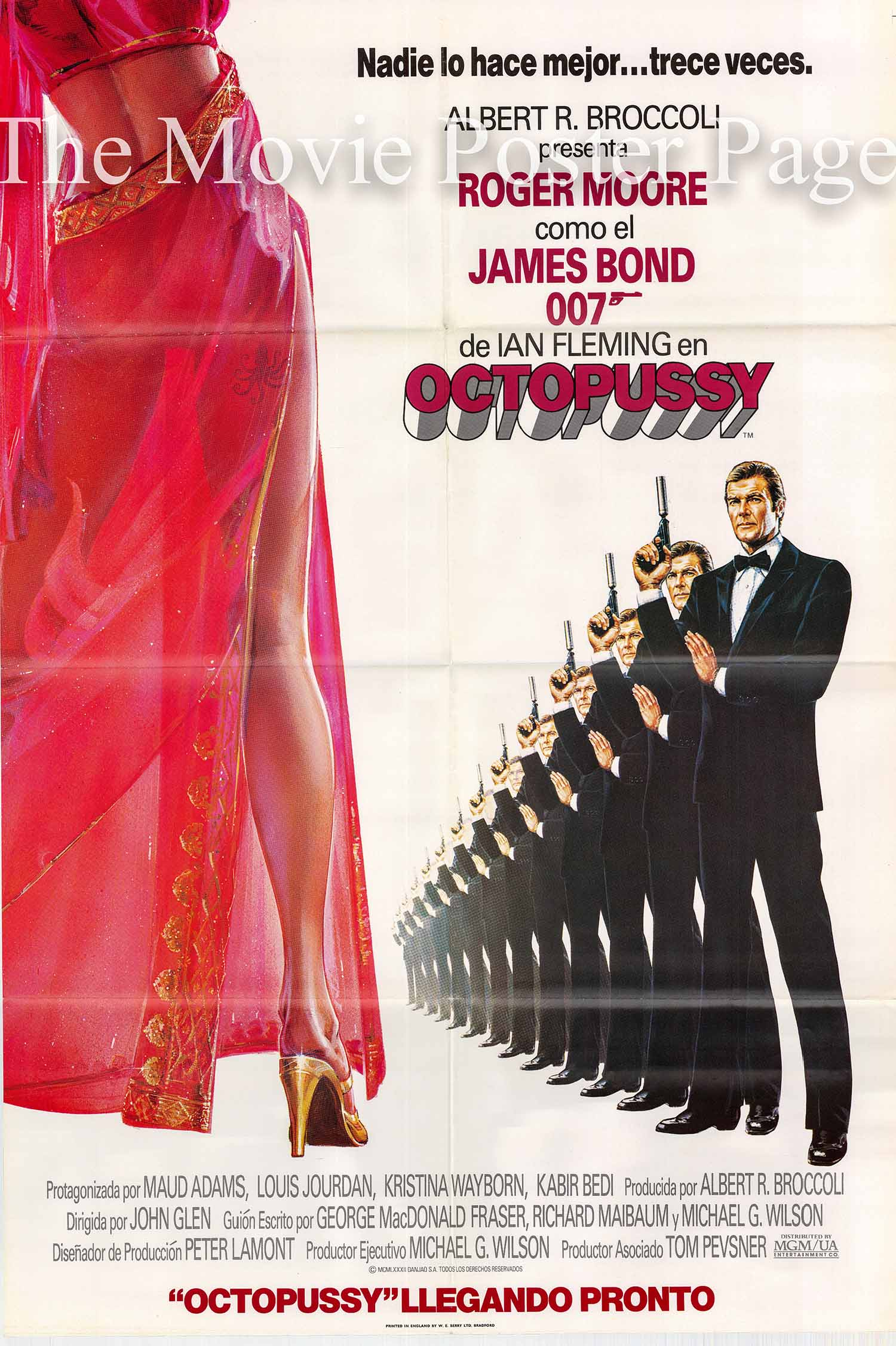 Pictured is a Spanish advance poster made to promote the 1983 John Glen film Octopussy starring Roger Moore as James Bond.