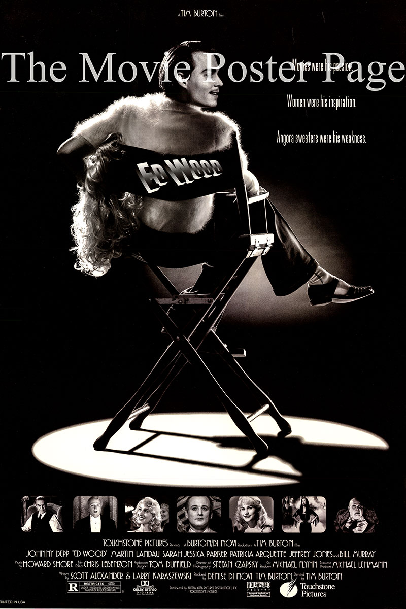 This is a US one-sheet poster for the 1994 Tim Burton film <i>Ed Wood</i> based on a book by Rudolph Grey and starring Johnny Depp as Ed Wood.
