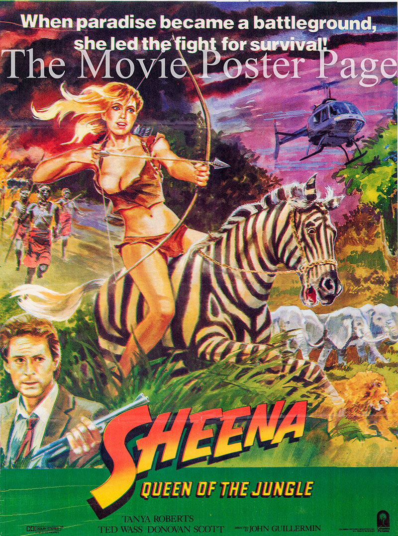 Pictured is a Pakistani one-sheet poster for the 1984 John Guillermin film Sheena starring Tanya Roberts as Sheena.