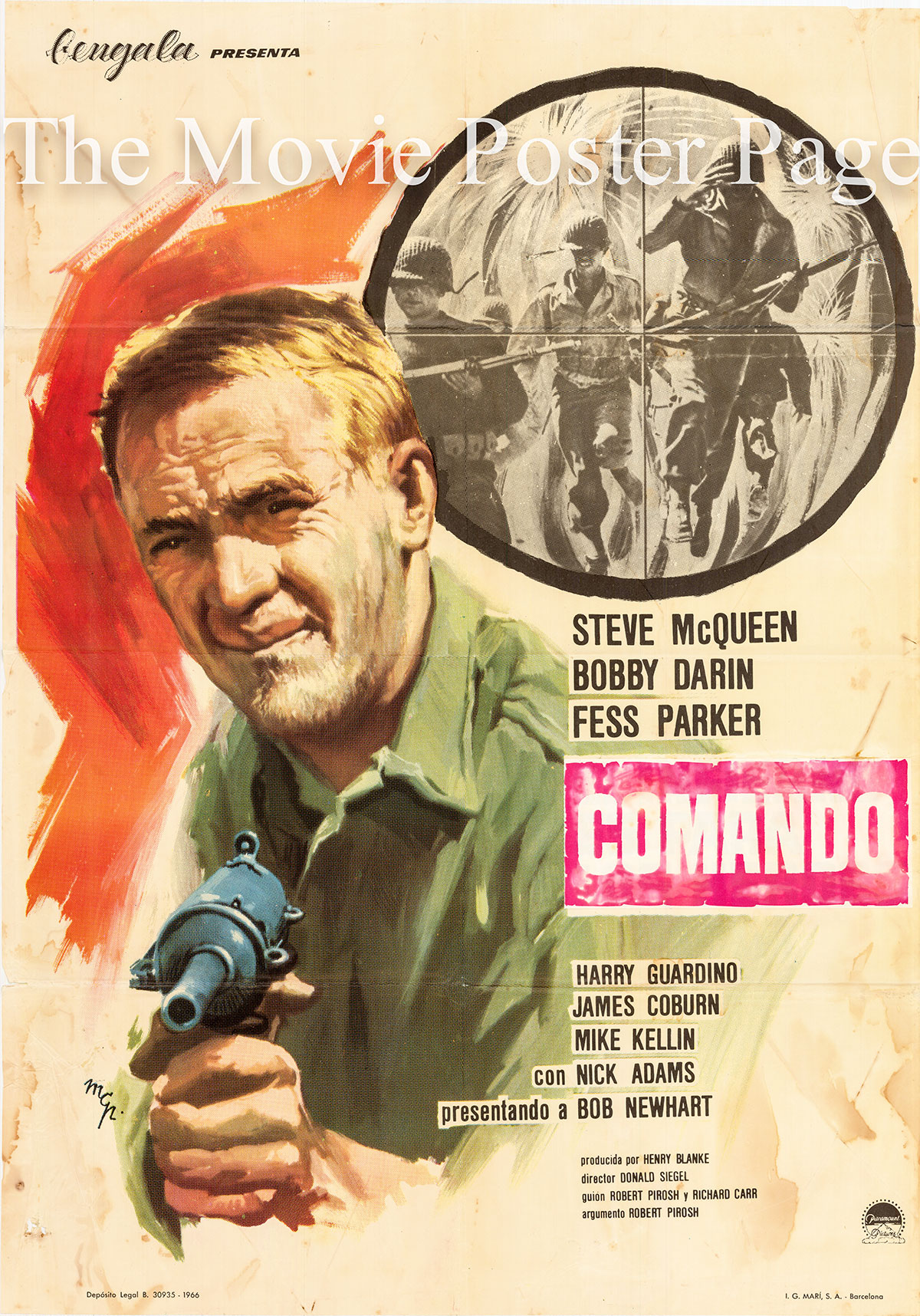 Pictured is a Spanish one-sheet poster for a 1966 rerelease of the 1962 Donald Siegel film Hell is for Heroes starring Steve McQueen.