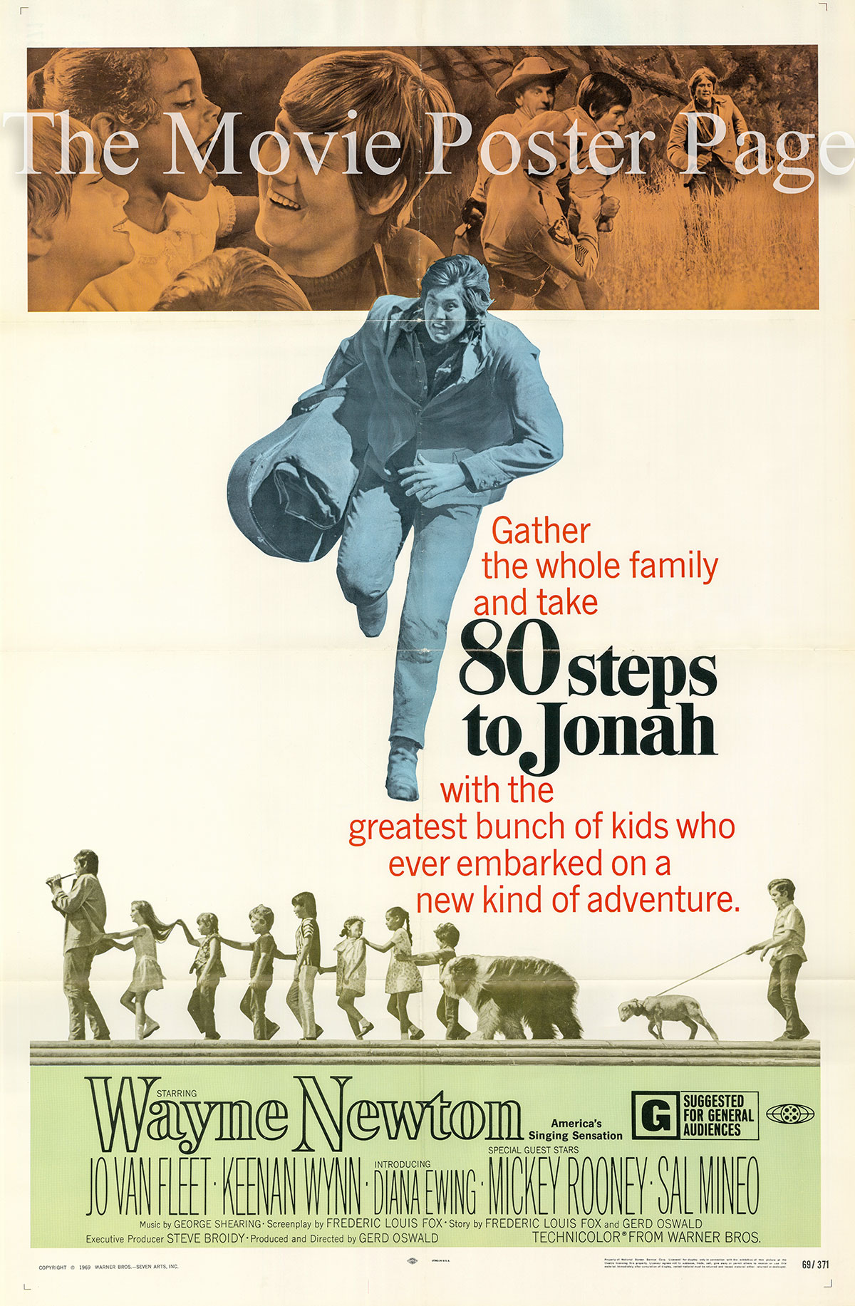 Pictured is a US one-sheet promotional poster for the 1969 Gerd Oswald film 80 Steps to Jonah starring Wayne Newton as Mark Jonah Winters.