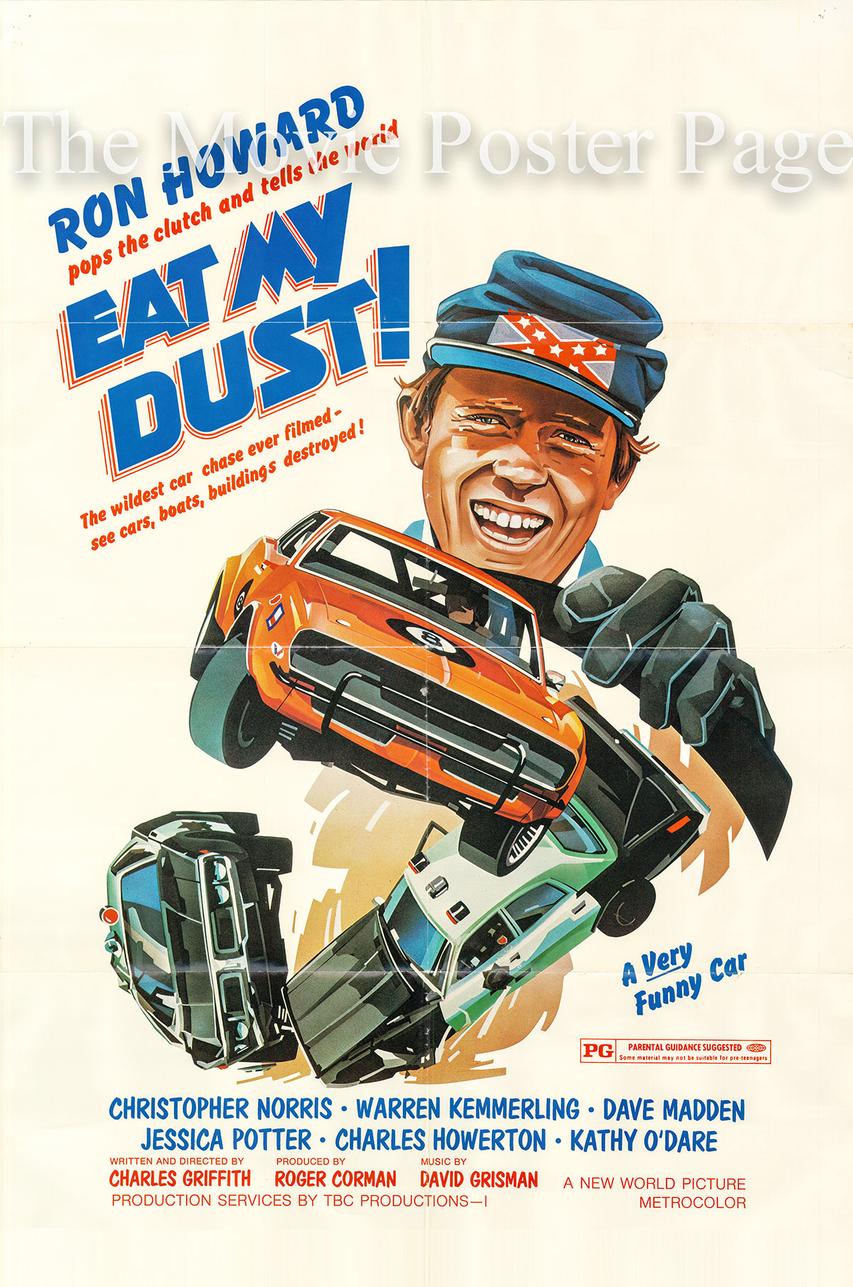 Pictured is a US one-sheet promotional poster for the 1976 Charles B.  Griffith film Eat My Dust starring Ron Howard.