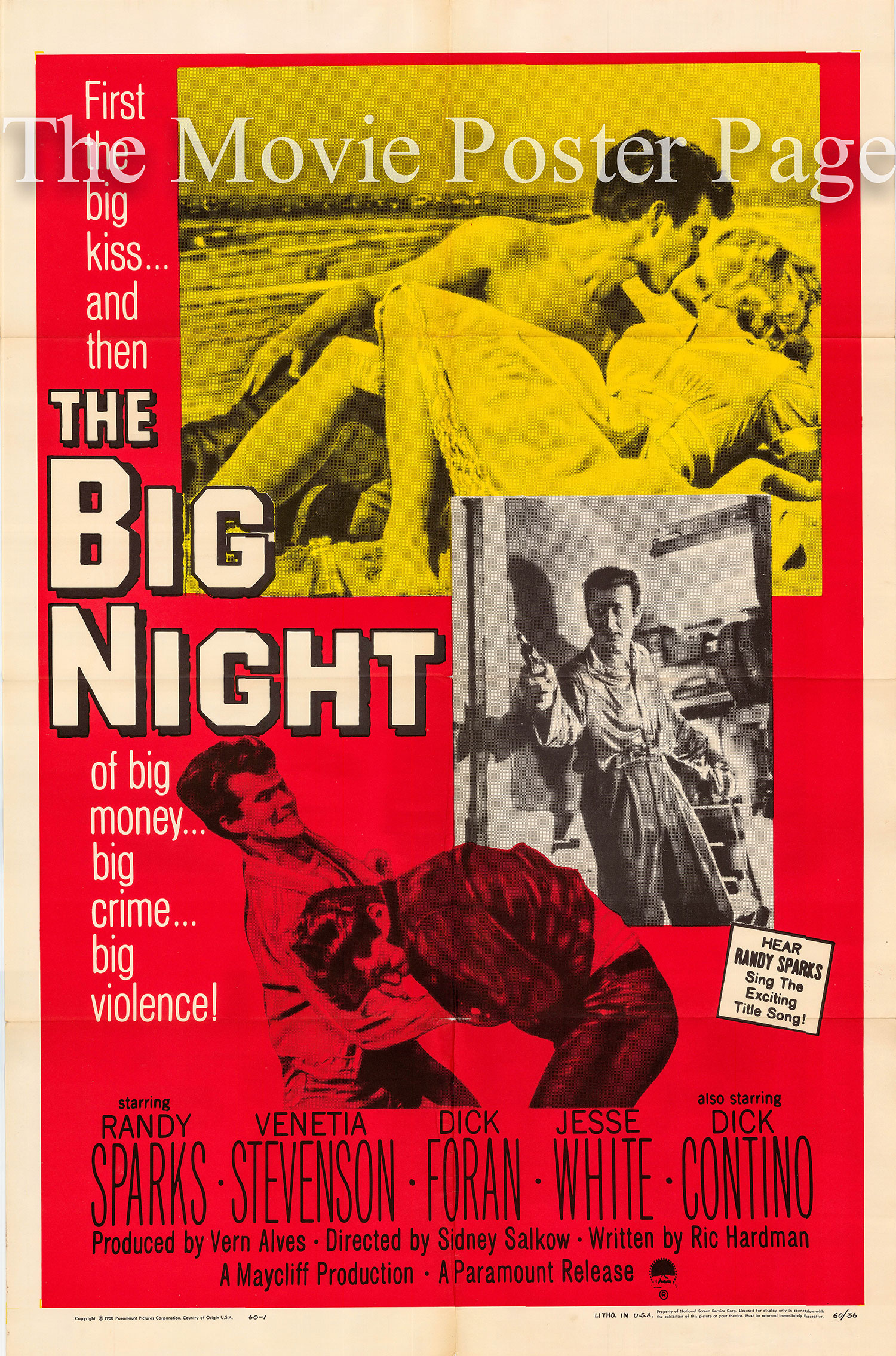 Pictured is a US one-sheet poster for the 1960 Sidney Salkow film The Big Night starring Randy Sparks.