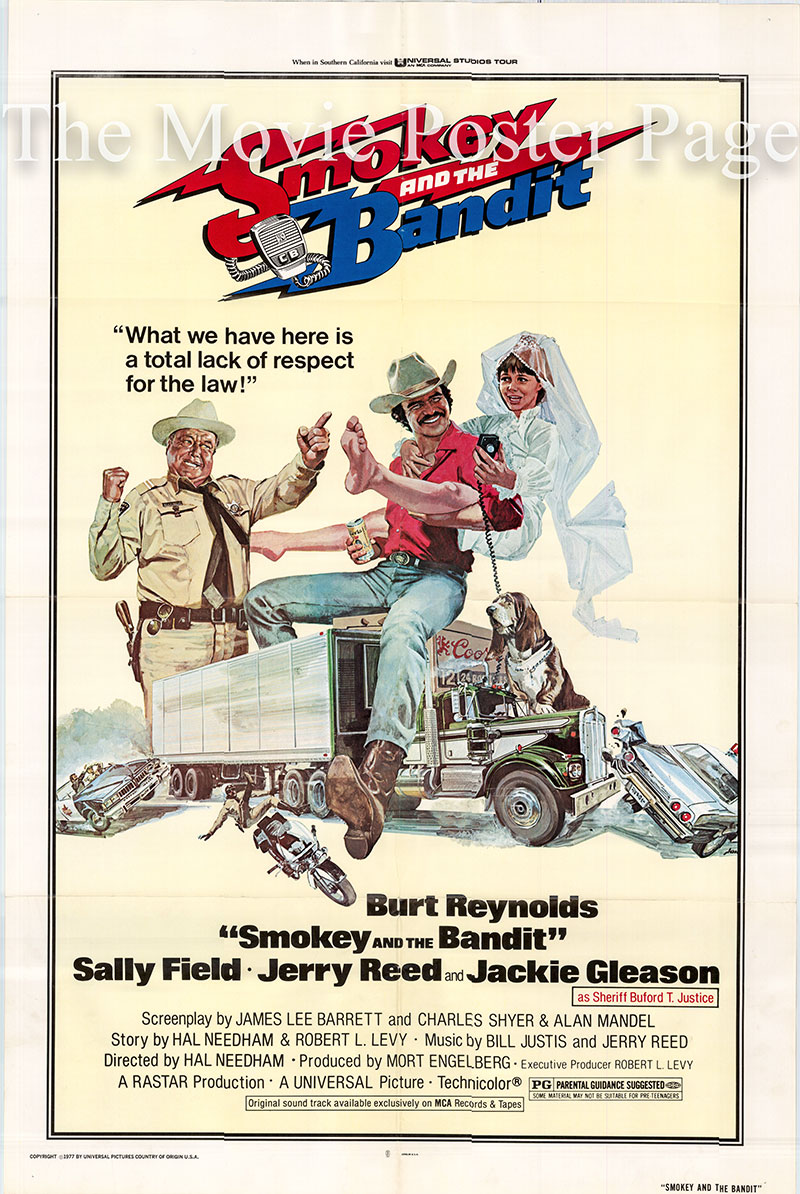 Pictured is a US one-sheet poster for the 1977 Hal Needham film Smokey and the Bandit starring Burt Reynolds as Bandit.