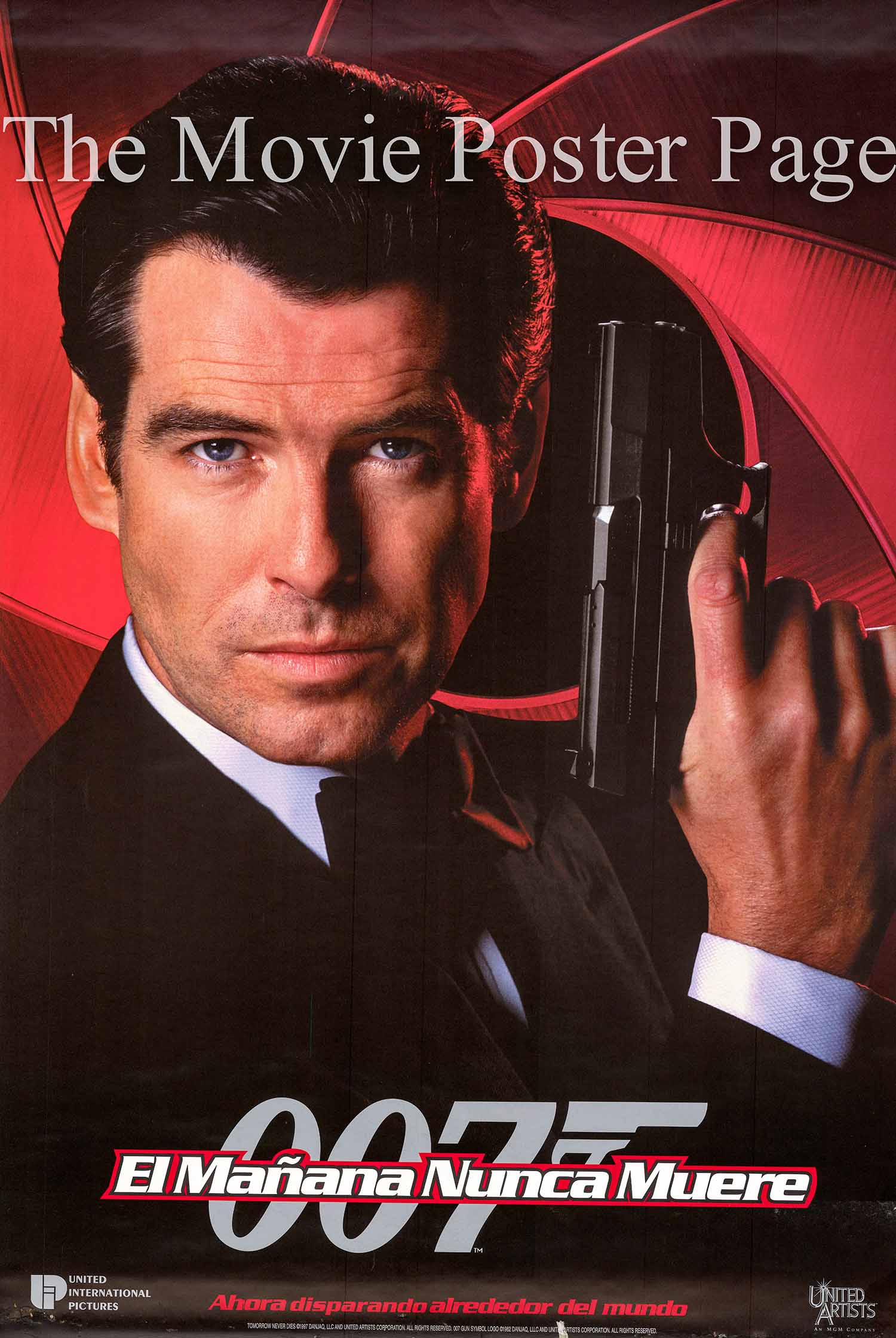 Pictured is a UK quad promotional poster for the 1997 Roger Spotiswoode film Tomorrow Never Dies starring Pierce Brosnan as James Bond.