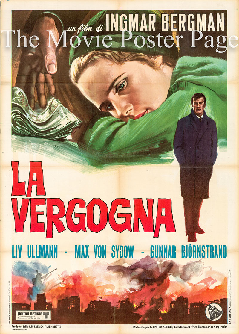 Pictured is an Italian two-sheet poster for a 1969 rerelease of the 1968 Ingmar Bergman film Shame starring Liv Ullmann as Eva Rosenberg.