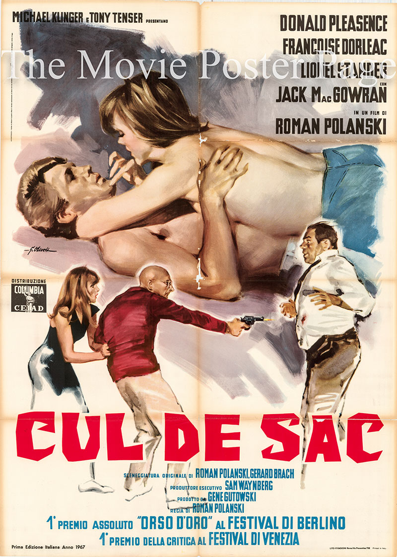 Pictured is an Italian two-sheet poster for a 1967 rerelease of the 1966 Roman Polanski film Cul de Sac.