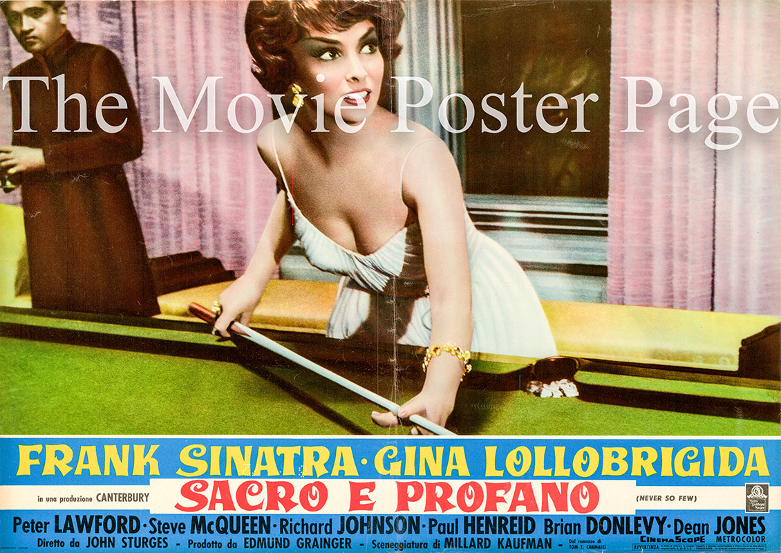 Pictured is an Italian busta poster for the 1959 John Sturges film Never So Few starring Frank Sinatra.