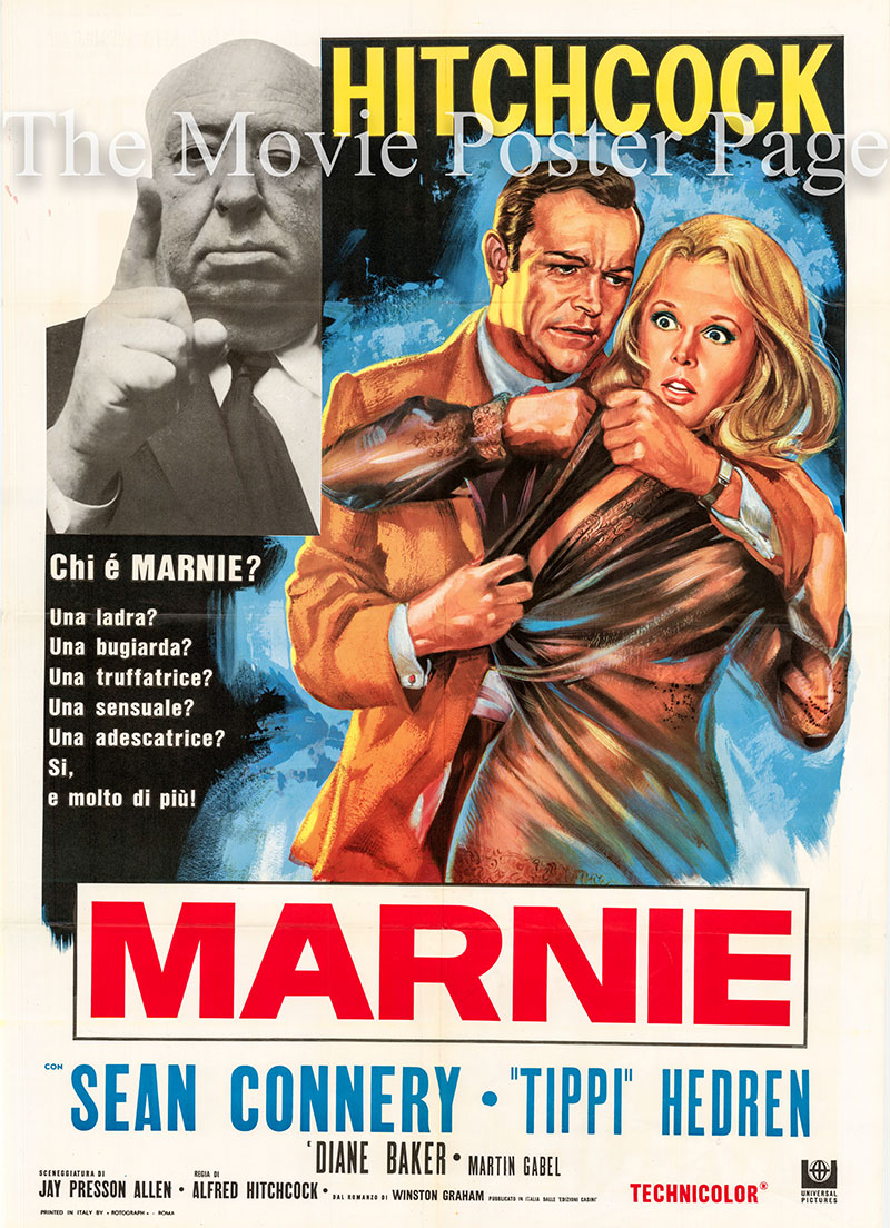 Pictured here is an Italian two-sheet poster for a 1970s rerelease of the 1964 Alfred Hitchcock film Marnie starring Tippi Hedren as Marnie Edgar.