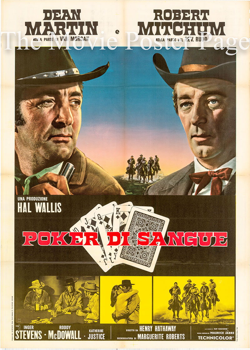 Pictured is an Italian 2-sheet promotional poster for the 1968 Henry Hathaway film Five Card Stud starring Dean Martin and Robert Mitchum.