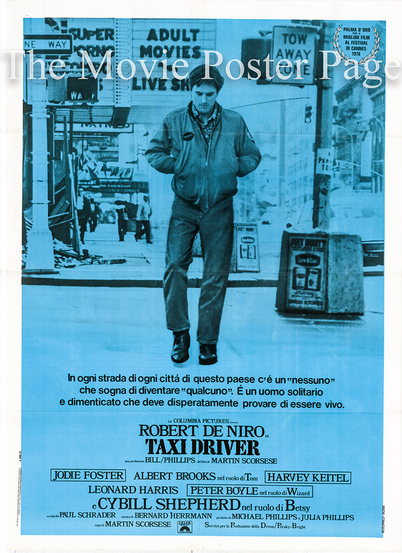 Pictured is an Italian two-sheet poster for the 1976 Martin Scorcese film Taxi Driver starring Robert De Niro.
