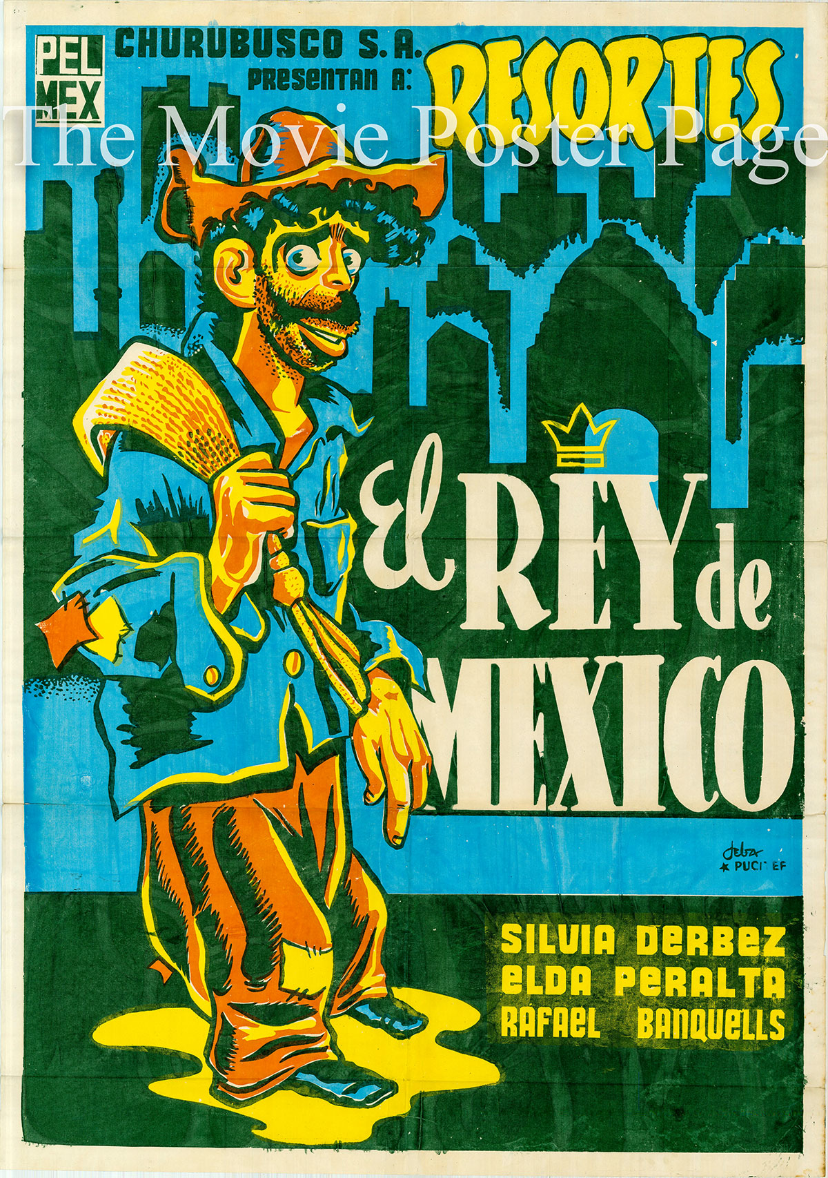 Pictured is a Mexican one-sheet poster designed by Ernesto Garcia Cabral for the 1955 Rafael Baledon film El Rey de Mexico starring Adalberto Martinez.