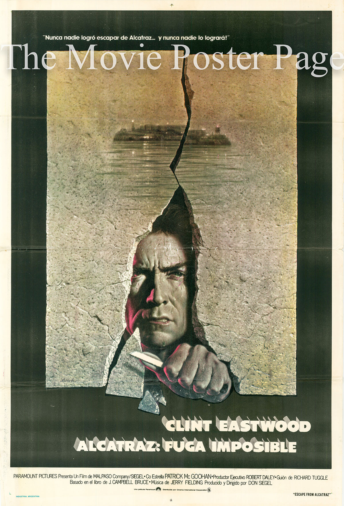 Pictured is a Argentine one-sheet poster for the 1979 Don Siegel film Escape from Alcatraz starring Clint Eastwood.