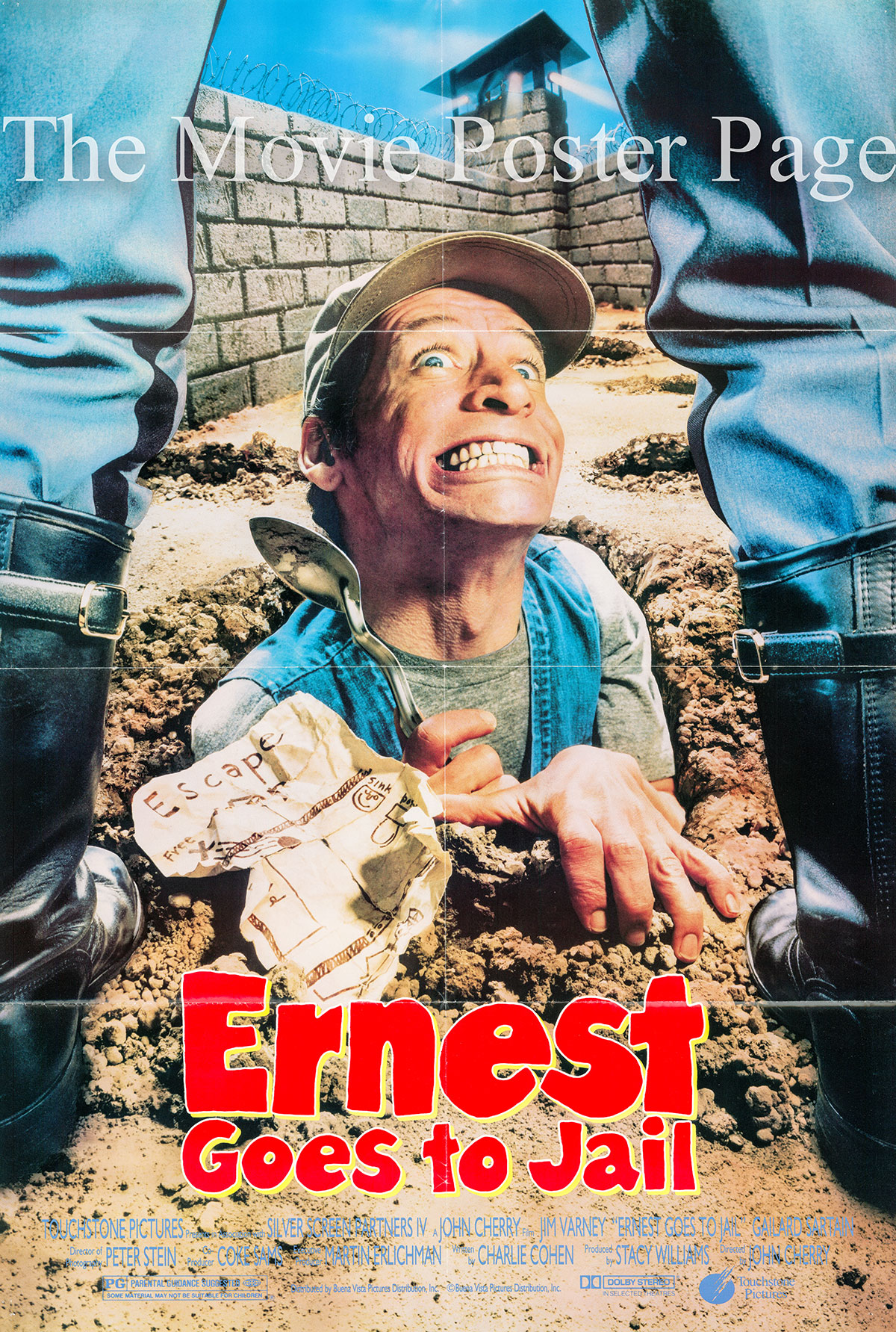 Pictured is a US promotional poster for the 1990 John R. Cherry III film Ernest Goes to Jail starring Jim Varney.