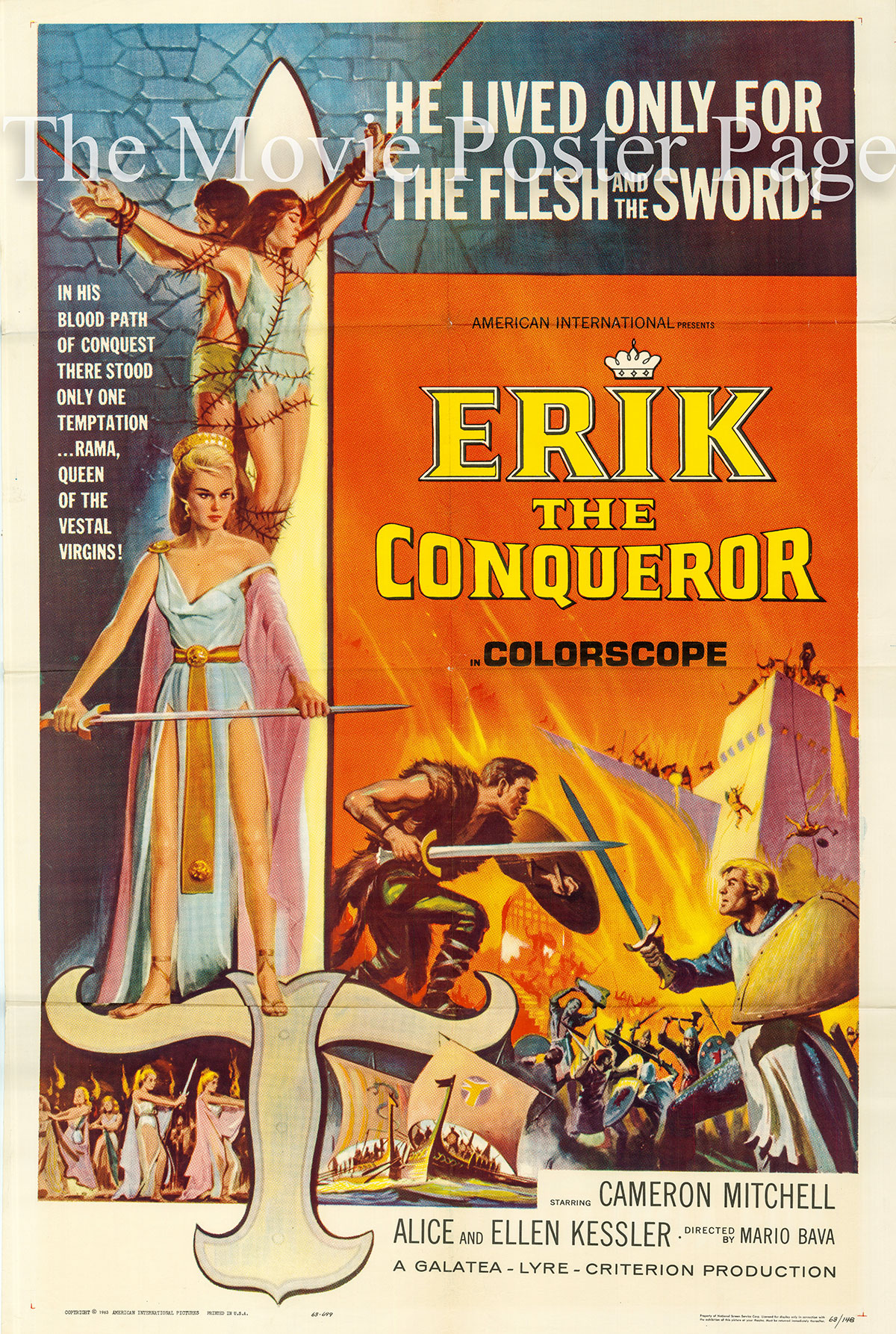 Pictured is a US one-sheet poster for the 1963 Mario Bava film Erik the Conqueror starrijng Cameron Mitchell as Eron.