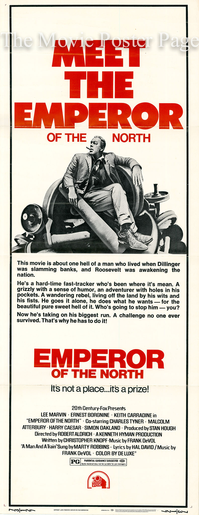 Pictured is a US insert poster for the 1973 Robert Aldrich film Emperor of the North starring Lee Marvin.