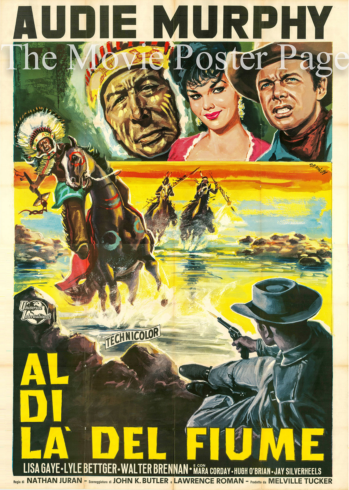 Pictured is an Italian four-sheet promotional poster for the 1954 Nathan Juran film Drums Across the River starring Audie Murphy.