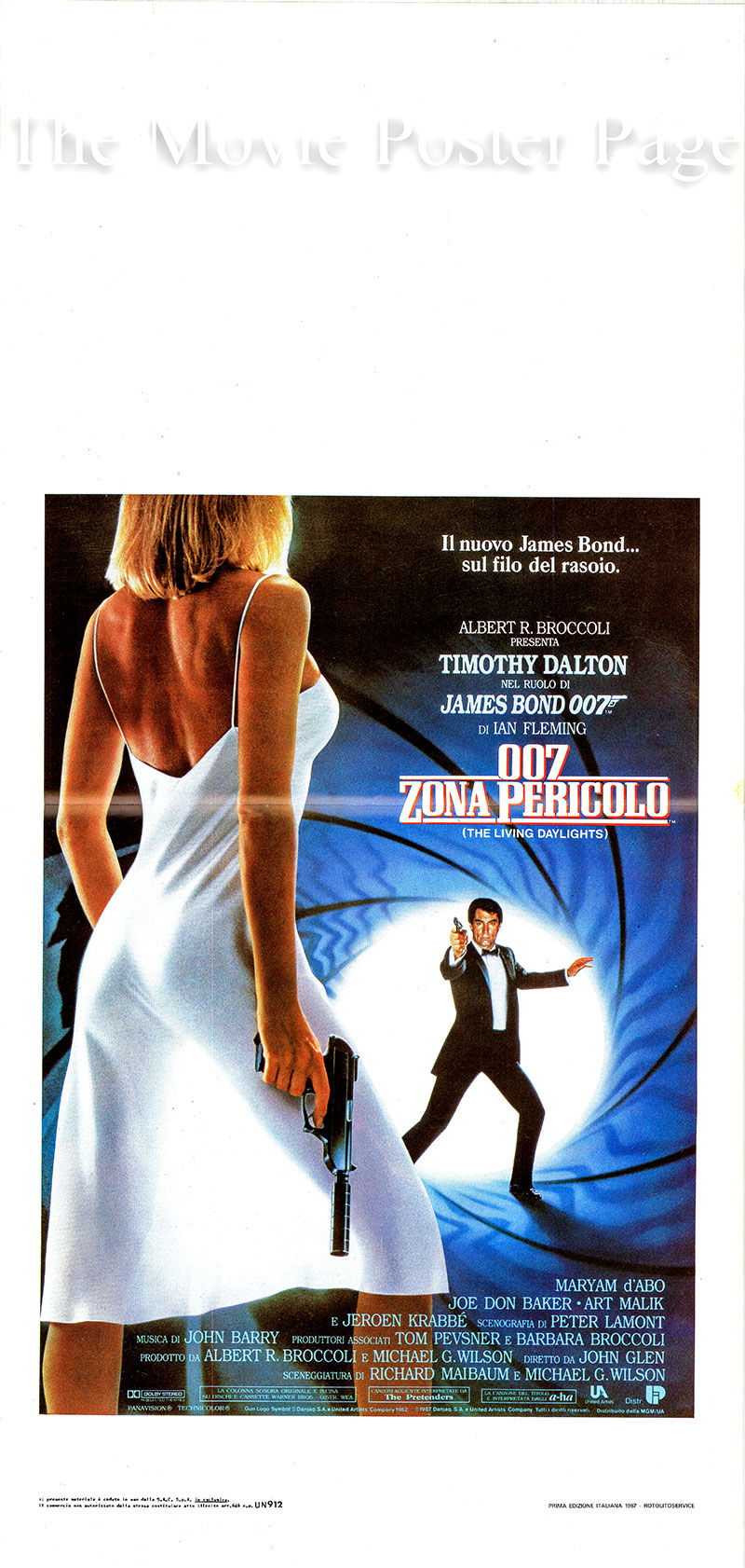 Pictured is an Italian locandina poster for the 1987 John Glen film The Living Daylights starring Timothy Dalton as James Bond.