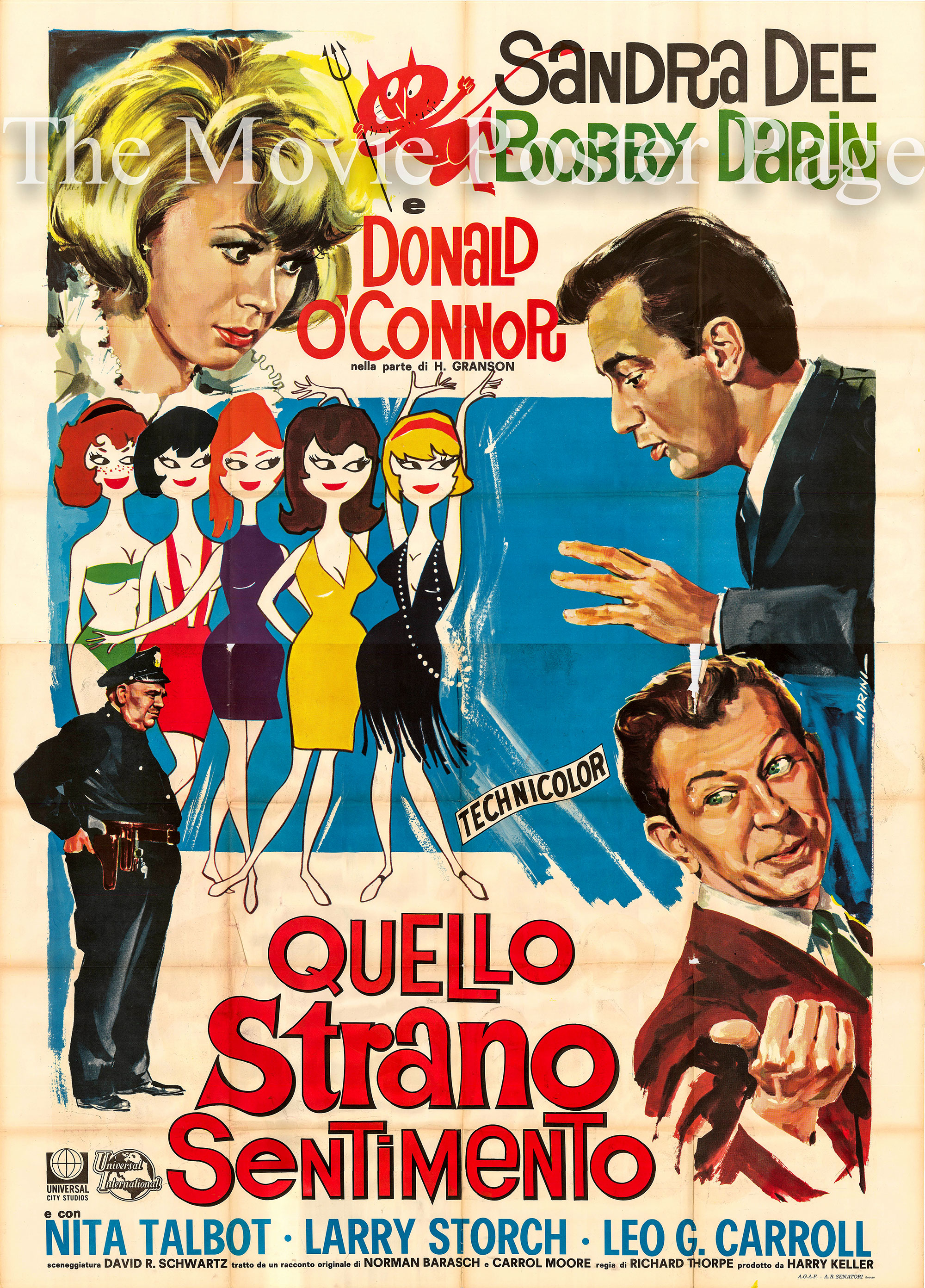 Pictured is an Italian four-sheet poster for the 1965 Richard Thorpe film <i>That Funny Feeling</i> starring Bobby Darin and Sandra Dee.