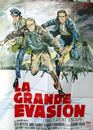 Pictured is a French Grande poster for 1963 John Sturges film The Great Escape starring Steve McQueen.