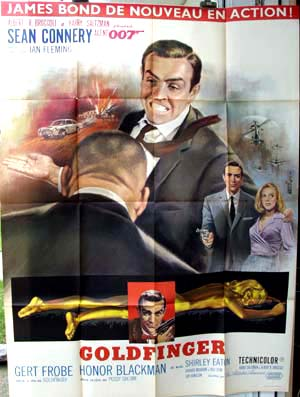 Pictured is a French Grande promotional poster for the 1964 Guy Hamilton film goldfinger starring Sean Connery.