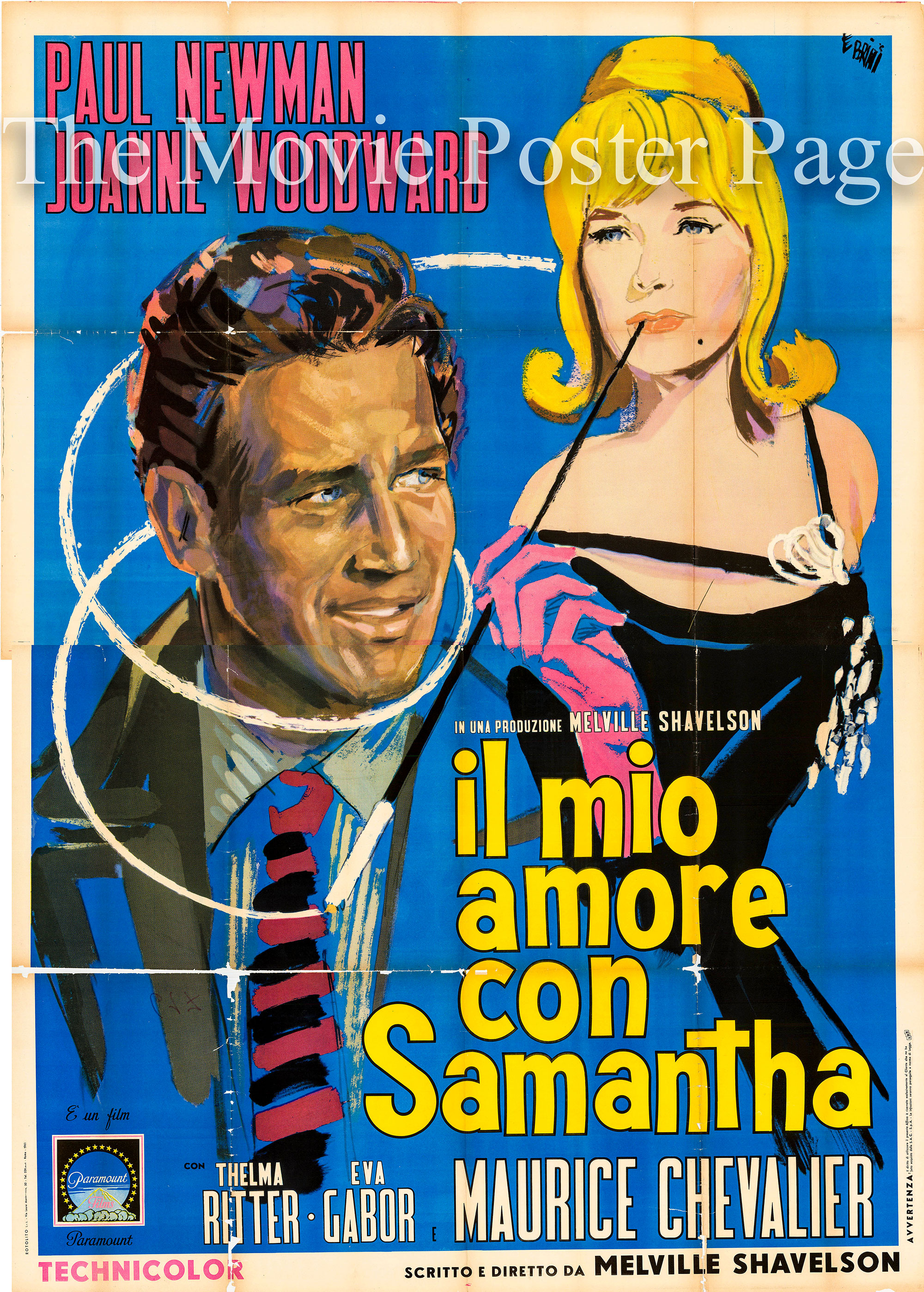 Pictured is an Italian four-sheet poster for the 1963 Melville Shavelson film A New Kind of Love starring Paul Newman and Joanne Woodward.