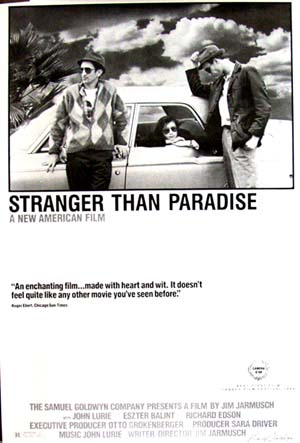 pictured is a reprint of the style B promotional poster for the 1984 Jim Jarmusch film Stranger tnan Paradise.