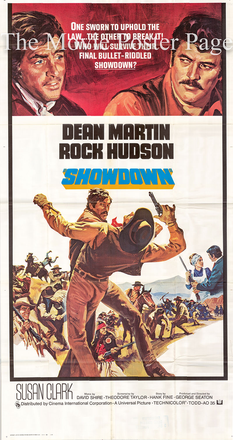 Pictured is a US three-sheet poster for the 1973 George Seaton film Showdoan starring Rock Hudson as Chuck Jarvis.