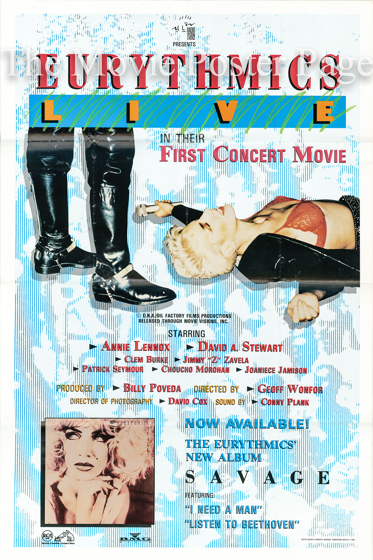 Pictured is a US one-sheet poster for the 1988 Geoff Wonfor film Eurythmics Live starring Annie Lnnox.