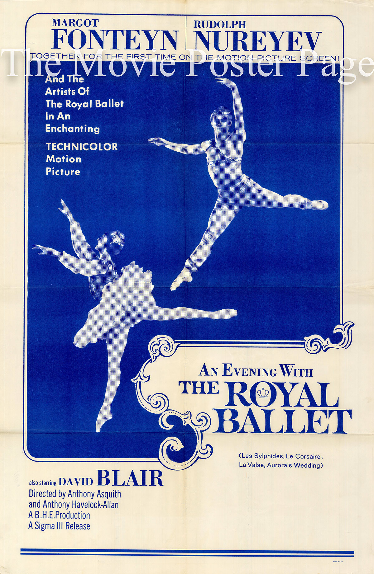 Pictured is a US one-sheet promotional poster for the 1963 Anthony Asquith and Anthony Havelock-Allan film An Evening with the Royal Ballet starring Morgot Fonteyn and Rudolf and Nureyev.