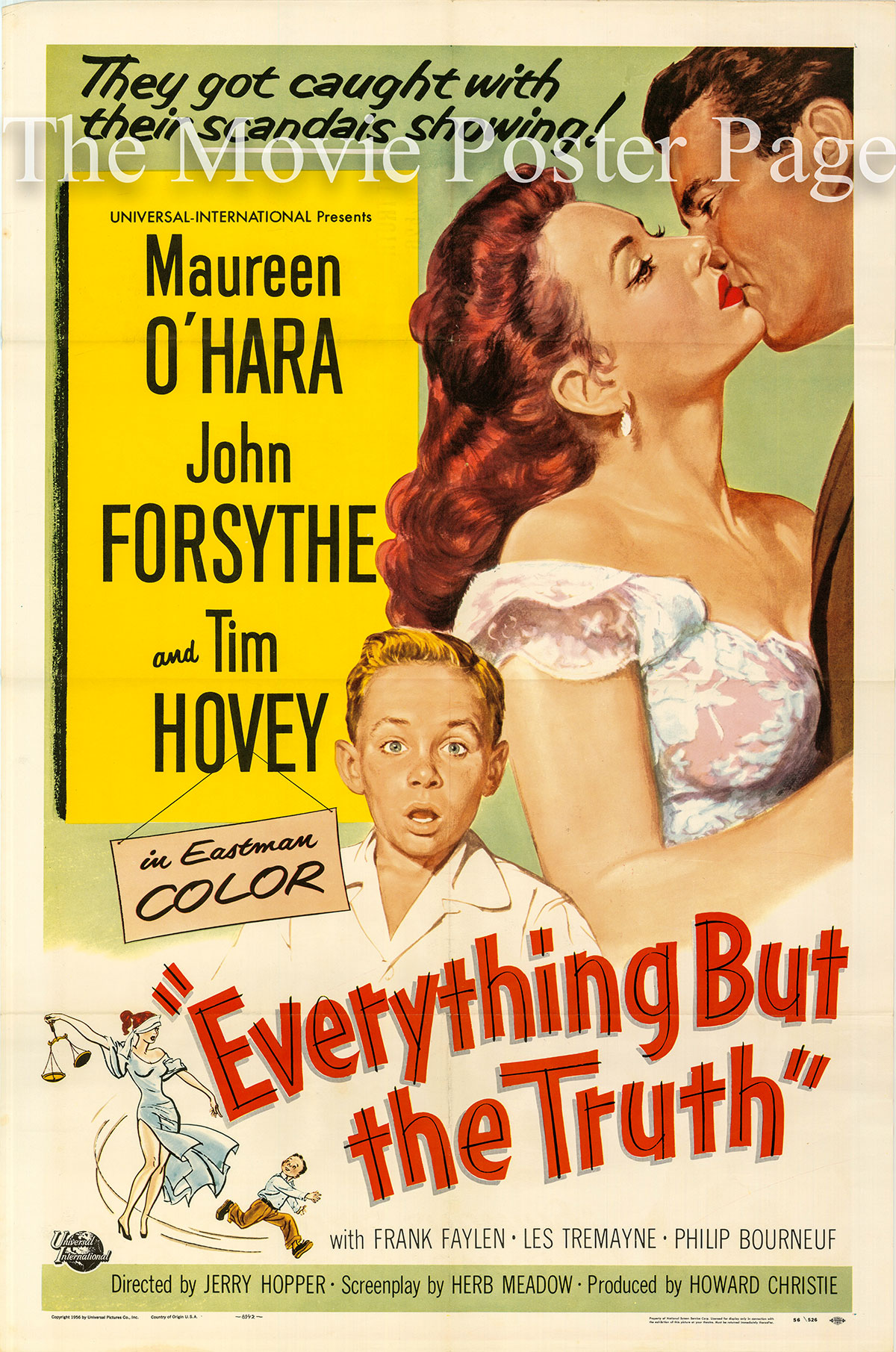 Pictured is a US one-sheet poster for the 1956 Jerry Hopper film Everything but the Truth starring Maureen O'Hara.