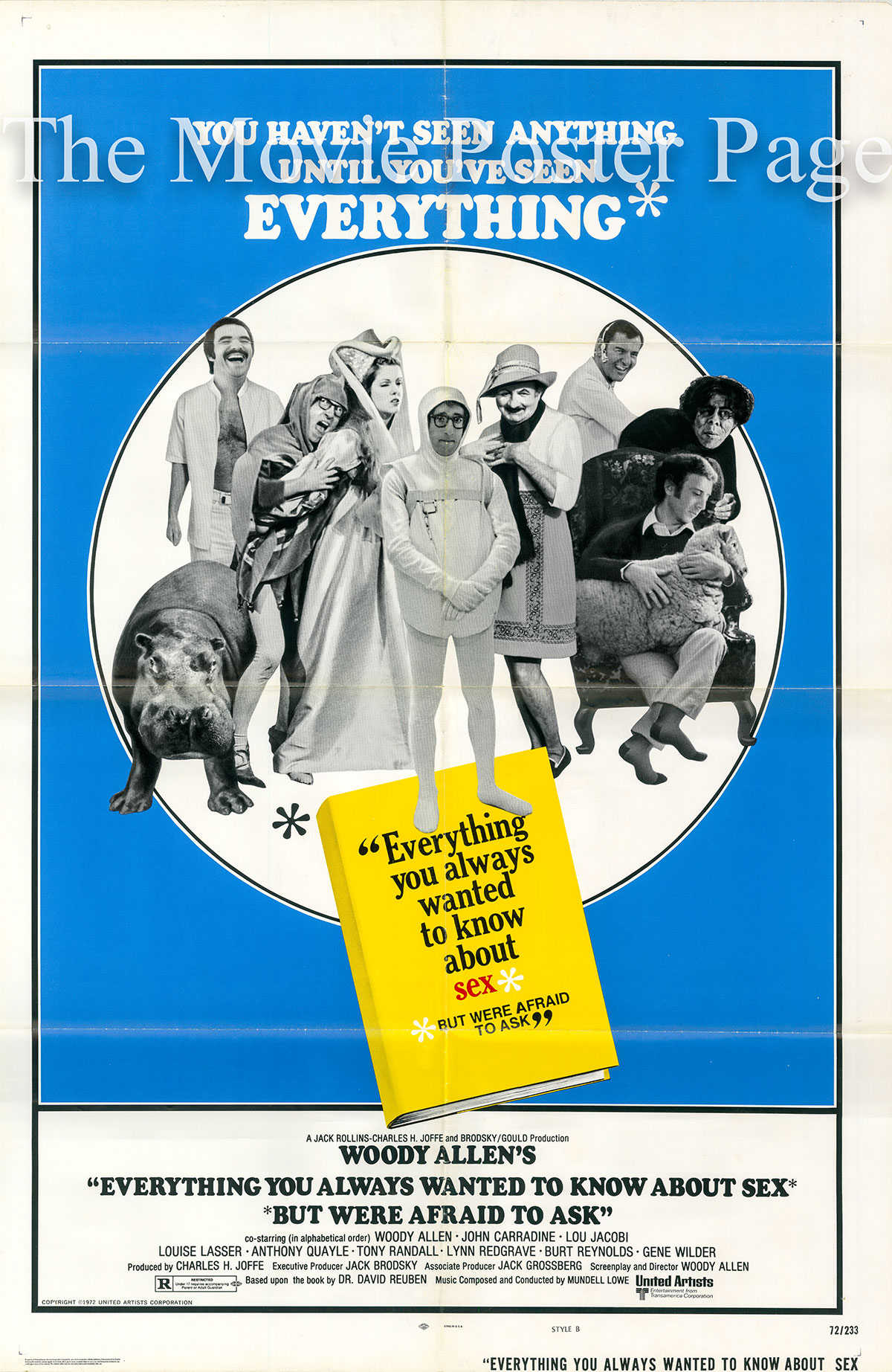 Pictured is a US one-sheet poster for the 1972 Woody Allen film Everything You Always Wanted to Know about Sex starring Woody Allen.