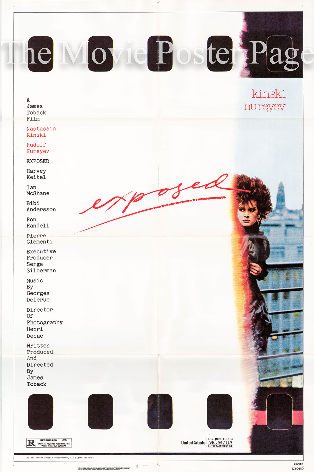Pictured is a US promotional one-sheet for the 1983 James Toback film Exposed starring Nastassja Kinski as Elizabeth Carlson.