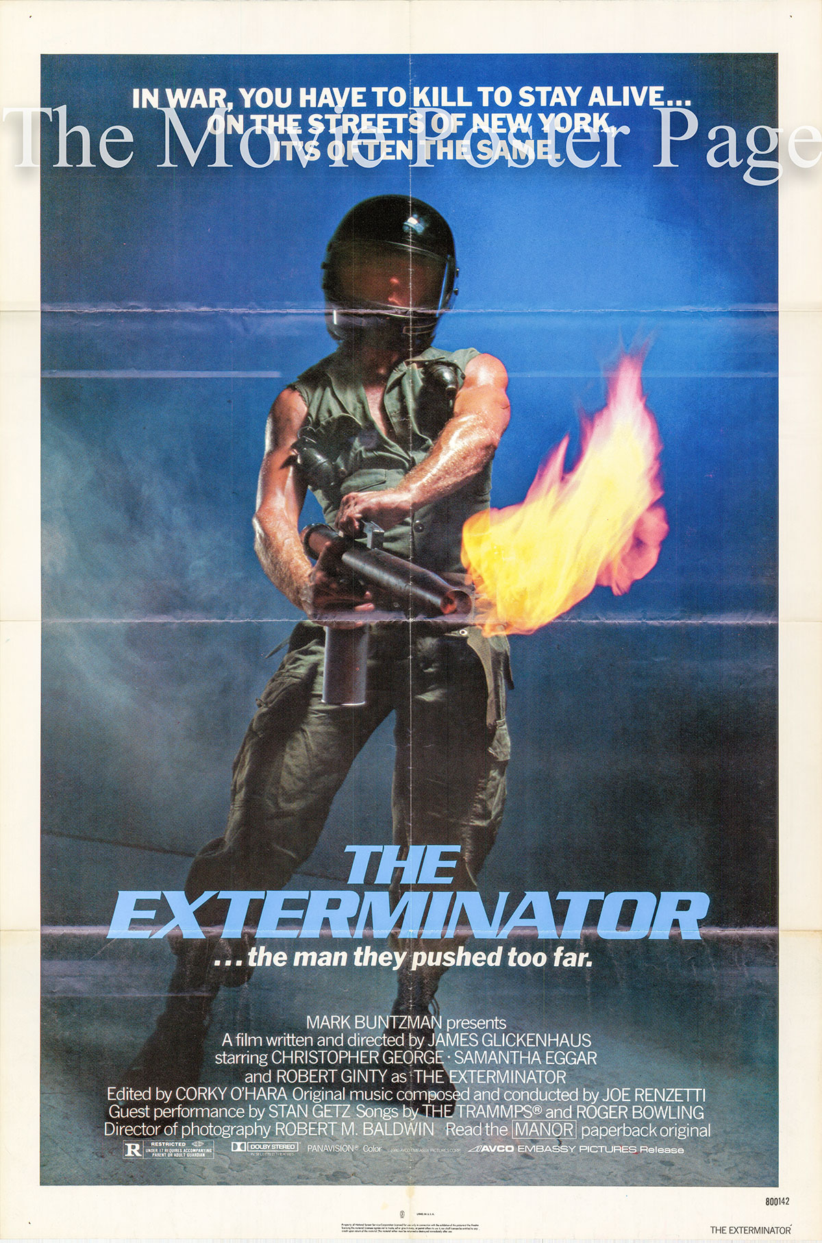 Pictured is a US one-sheet poster for the 1980 James Glickenhaus film The Exterminator starring Christopher George.