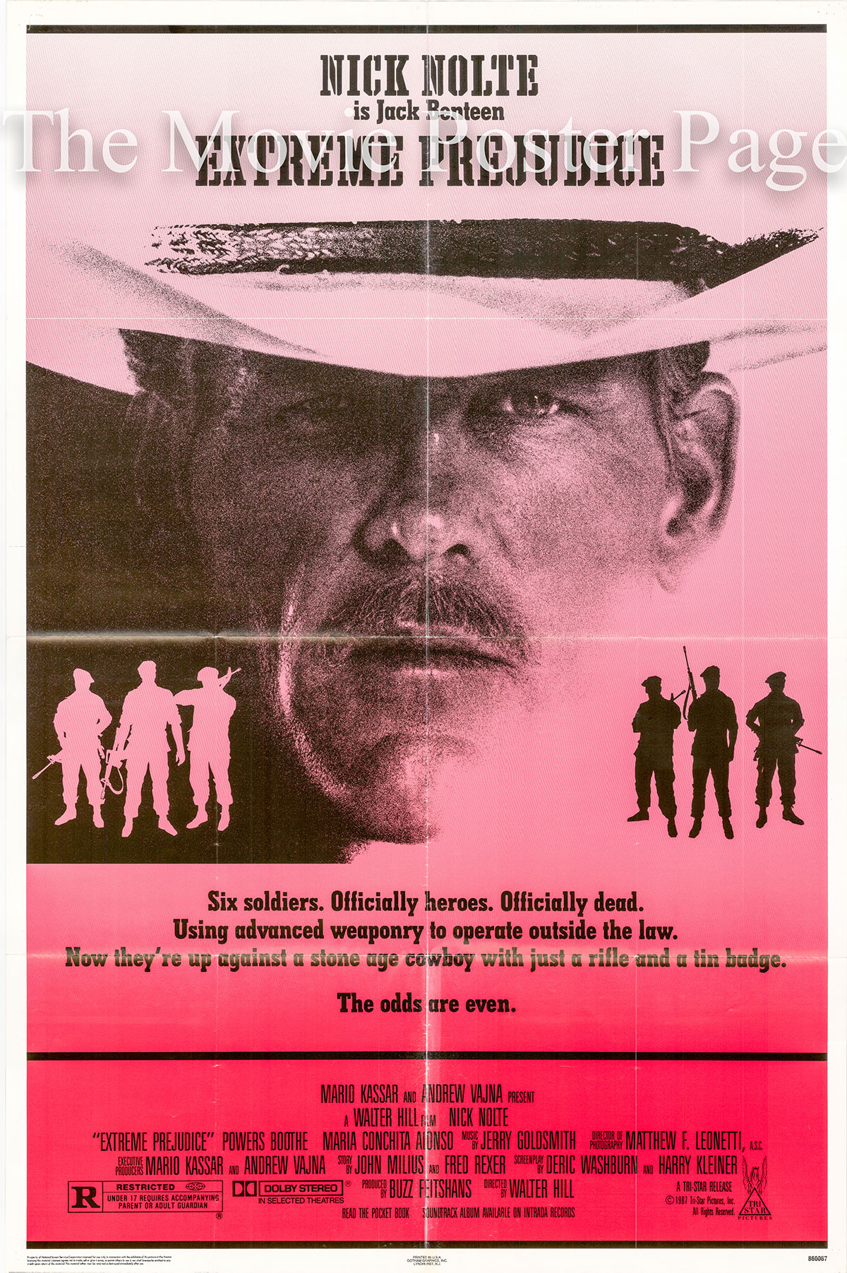 Pictured is a US one-sheet poster for the 1981 Walter Hill film Extreme prejudice starring Nick Nolte as Jack Benteen.