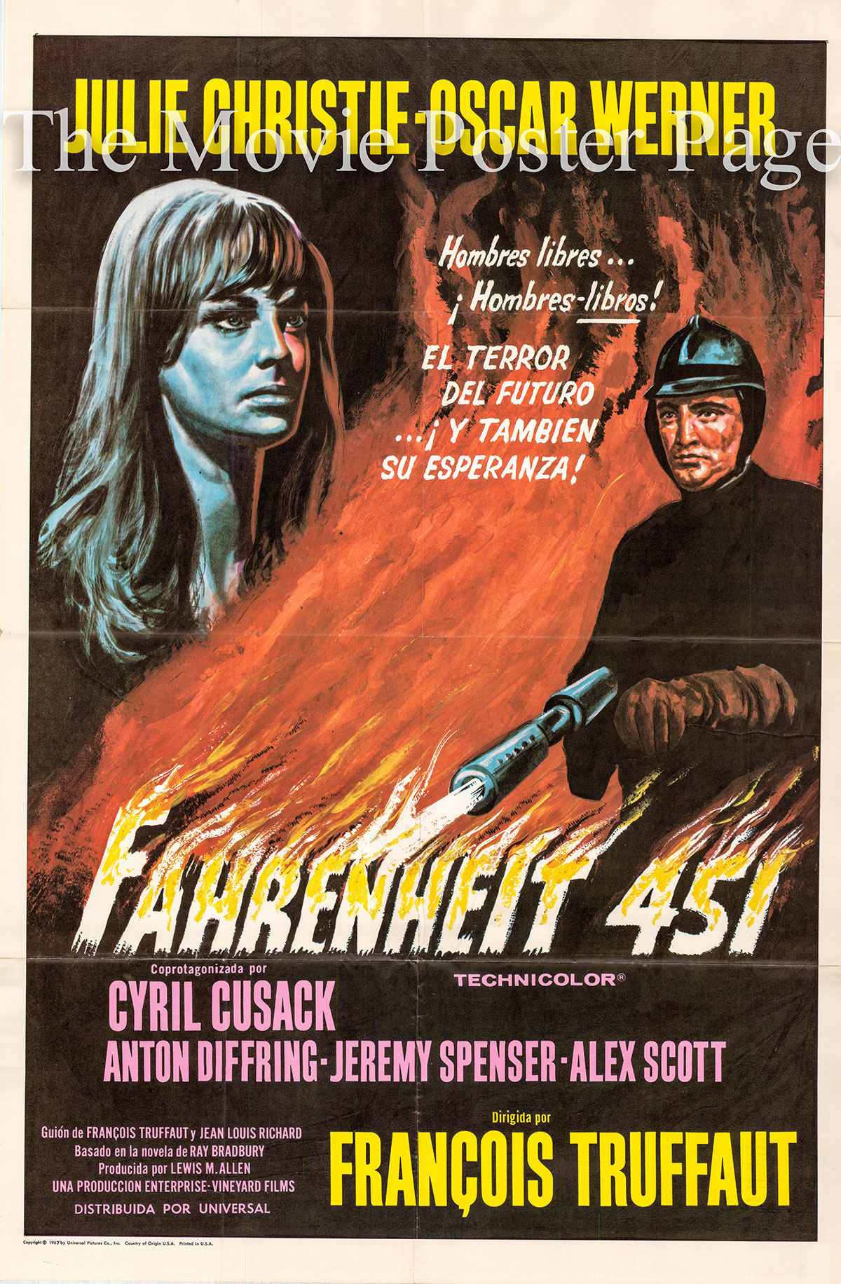 Pictured is a Spanish poster for the 1967 Francois Truffaut film Fahrenheit 451 starring Julie Christie.
